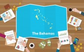 the bahamas economy country growth nation team discuss with fold maps view from top vector illustration