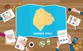 buenos aires argentina city region economy growth with team discuss on fold maps view from top vector illustration