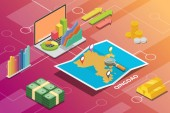 qingdao city isometric financial economy condition concept for describe cities growth expand - vector