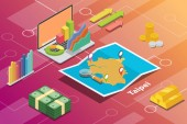 taipei city in taiwan city isometric financial economy condition concept for describe cities growth expand - vector