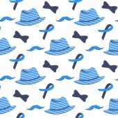Blue ribbon mustache hat seamless pattern Prostate cancer Awareness Month concept