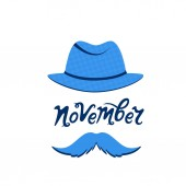 A man with a mustache in a hat November hand drawn lettering Prostate cancer concept