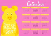 Wall Calendar for 2019 from Sunday to Saturday Chinese New Year of the yellow earth pig Cute piggy