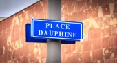 blue street sign where it is written in French Dauphine Square in Strasbourg