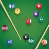 Billiard stick and pool balls on green billiard table game Pool balls and cue for pool game on green table top view