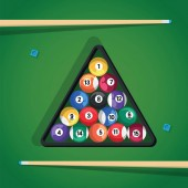 Billiard stick and pool balls in triangle on green table for game Biliard balls triangle and cue for game on green table top view