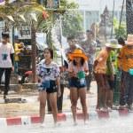 SUKHOTHAI, THAILAND - 13 APRIL 2019: Thai people c...