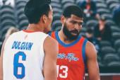 Amsterdam, Netherlands, June 20, 2019: Angel Matias and Dulguun Enkhbat during the basketball game Mongolia vs Puerto Rico  during the basketball 3x3 world cup 2019 in Amsterdam