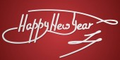 happy New Year hand lettering text on a red background hand-made vector calligraphy
