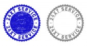 Textured 24X7 SERVICE Grunge Stamp Seals with Ribbon