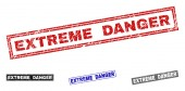 Grunge EXTREME DANGER Scratched Rectangle Stamp Seals