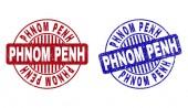 Grunge PHNOM PENH Scratched Round Watermarks