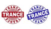 Grunge TRANCE Scratched Round Stamp Seals