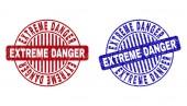 Grunge EXTREME DANGER Scratched Round Watermarks
