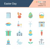 Easter icons Flat design collection 13 For presentation graphic design mobile application web design infographics Vector illustration
