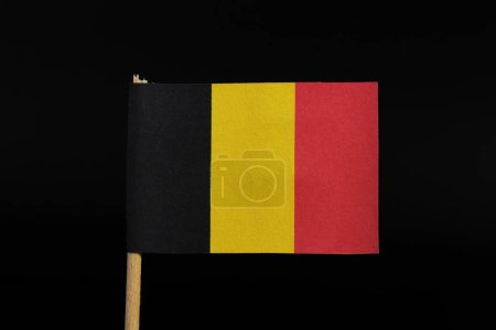 Photo pour A beautiful, national flag of the kingdom of Belgium on toothpick on black background. A vertical tricolour of black, yellow, and red. - image libre de droit