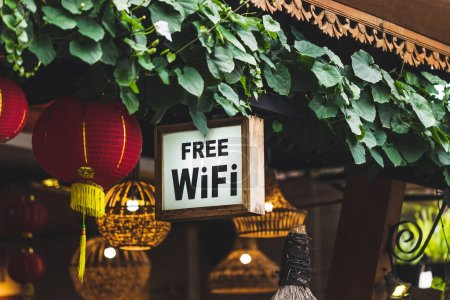 Free Wi-Fi sign hanging in traditional chinese street restaurant