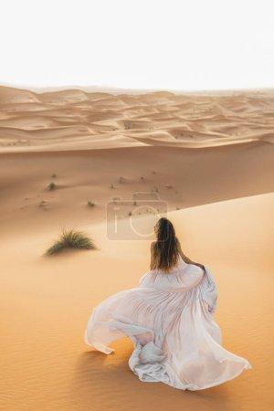 Photo pour Portrait de mariée en robe de mariée étonnante dans le désert du Sahara, Maroc. Lumière chaude du soir, beau ton pastel, dunes de sable à l'horizon. Vue de derrière . - image libre de droit