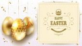 Easter light composition with a set of golden-colored eggs with shiny scraps of ribbons