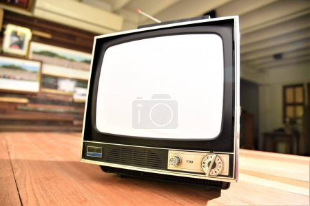 Photo for Vintage television set with blank empty screen - Royalty Free Image
