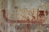 """Постер, картина, фотообои """"Королевская лодка охра фреска в Ангкор-Ват, Сием Рип, Камбоджа. Древние охра фреска на каменной стене. Камбоджийский традиционных искусств и ремесел. Туристические достопримечательности фото. Древние, опираясь на кхмерский храм"""""""