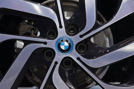 PARIS, FRANCE - OCTOBER 11, 2016: BMW logo on the wheel. Bavarian Motor Works usually known under its abbreviation BMW is a German luxury vehicles, motorcycle, and engine manufacturing company.