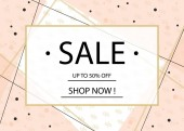 Sale banner flyer or poster design template with letteringGold