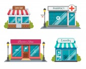 Modern fast food restaurant and shop buildings store facades boutiques with showcase flat icons Exterior market and restaurant illustration of exterior facade store building
