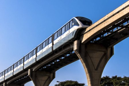 Photo for Sao Paulo, Brazil, June 20, 2018. Monorail train moves on railway girder in east  region of Sao Paulo - Royalty Free Image