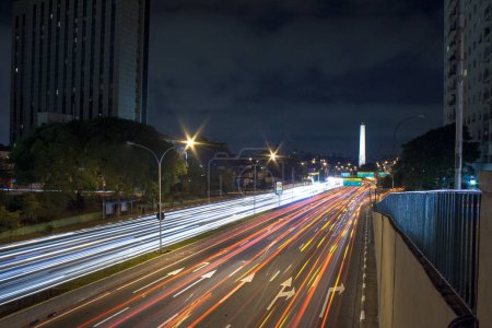 Photo for Night view of Sao Paulo with traffic trails - Royalty Free Image