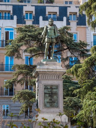 Photo for Michaeli de Cervantes Monument and statue in Madrid - Royalty Free Image