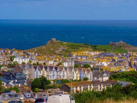 Photo pour Vue aérienne sur St Ives - une belle et célèbre ville de Cornouailles - image libre de droit