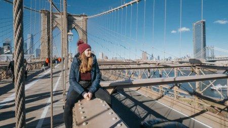 Photo pour Monument célèbre à New York le magnifique pont de Brooklyn - photographie de voyage - image libre de droit