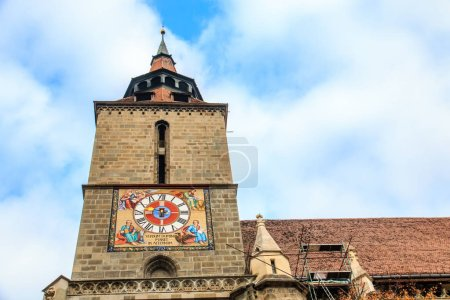 Europe, Romania, Brasov, Council Square, Black Church.Clock tower.