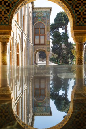 Islamic Republic of Iran. Tehran. Golestan Palace, UNESCO World Heritage Site. Nook and Pond House.