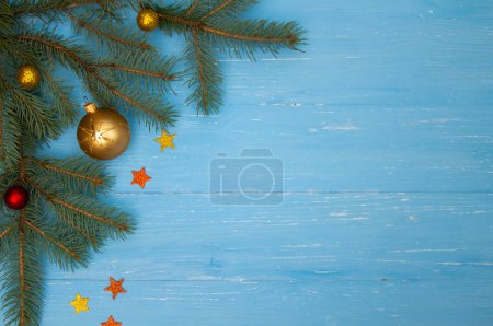 Photo for New Year's composition. Tree branches on  wooden background. - Royalty Free Image