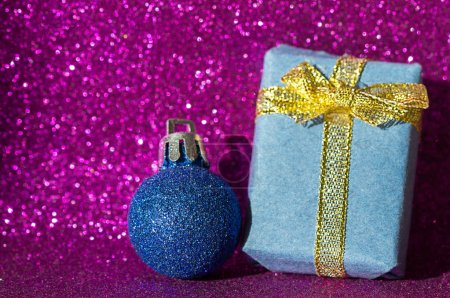 Photo for Christmas background with ball and gift - Royalty Free Image
