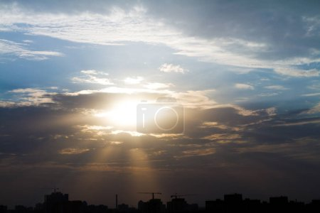 Photo for Yellow sunset in the sky in the city. - Royalty Free Image