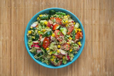 Photo for Vitamin salad with quinoa. Top view. Close up - Royalty Free Image