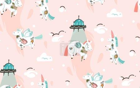 Photo pour Illustrations créatives graphiques dessinées à la main motif sans couture avec licornes cosmonautes avec tatouage old school, comètes et vaisseau spatial dans le cosmos isolé sur fond rose . - image libre de droit