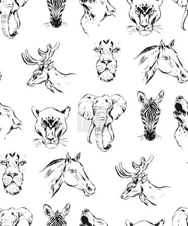 Photo pour Dessiné à la main vecteur abstrait encre artistique texturé croquis graphique dessin illustrations motif sans couture des animaux sauvages zèbres, lions, puma, loups, chevaux et cerfs isolés sur fond blanc . - image libre de droit