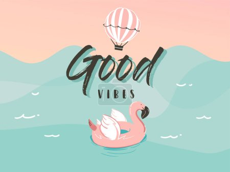 Illustration for Hand drawn vector stock abstract graphic illustration with a flamingo swimming, rubber float ring in ocean waves landscape and Good vibes typography quote isolated on blue background. - Royalty Free Image