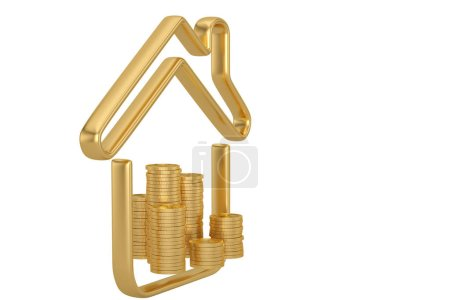 House line icon and coin stack isolated on white background 3D illustration.