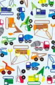 Colorful construction vehicles Vector illustration or background Pattern for kids apparel or placement print images Dump truck crane cement mixer construction vehicles Cute sweet vehicle design elements Blue green red yellow and orange