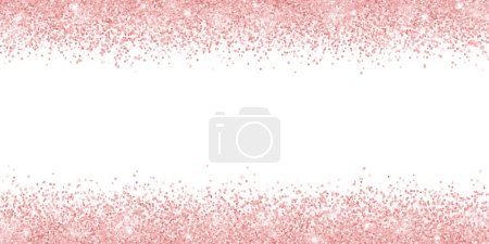 Rose gold glitter on white background, horizontal wide border. Vector