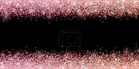 Rose gold glitter with color effect on black background, horizontal wide border. Vector