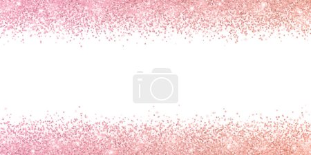 Rose gold border glitter with color effect on white background. Vector