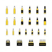 Beer in bottles and boxes with bubbles colored icon on white background Vector
