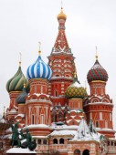 Moscow, Russia - January 31, 2019: Saint Basil's Cathedral covered with snow in Red Square on a cloudy day