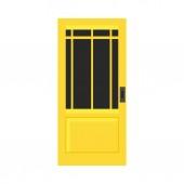 """Постер, картина, фотообои """"Дверь внешней отделки безопасности входного вектора плоский значок. Дом желтый дверной проем"""""""
